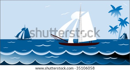 Sailboat on waves