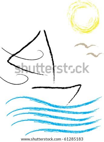 "Sailboat ""Painting"" - stock vector"