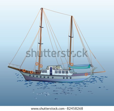sailboat, sailing ship, sailer - stock vector