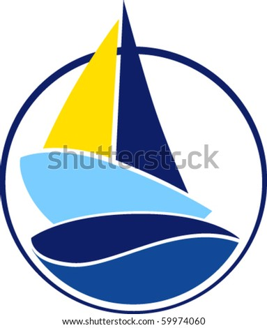 Sailboat stylized - stock vector