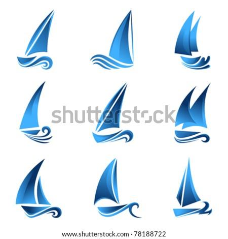 sailboat symbol set - stock vector