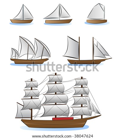 sailboats and ships illustration - stock vector