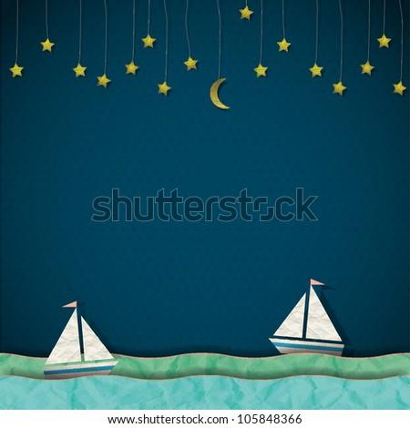 Sailboats at night. Vector paper-art - stock vector