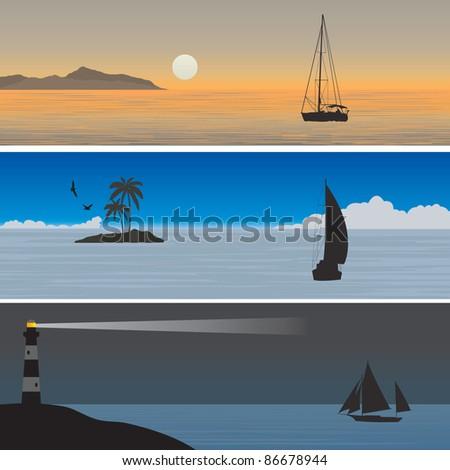 Sailboats. Vector illustration - stock vector