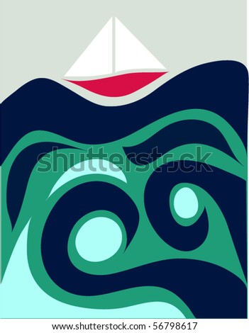Sailing - stock vector