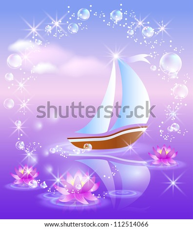 Sailing boat and violet lilies against purple sunset