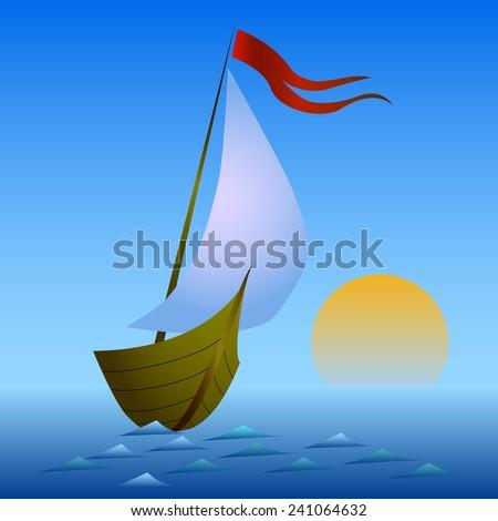 sailing boat at sunset - stock vector