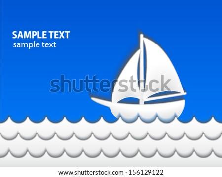 sailing boat /3d paper shape/ vector illustration eps 10 - stock vector