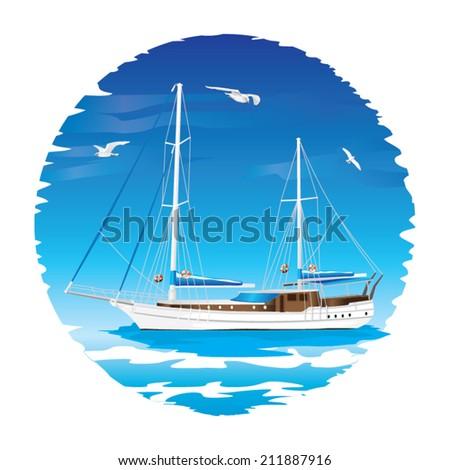 Sailing Boat illustration - stock vector