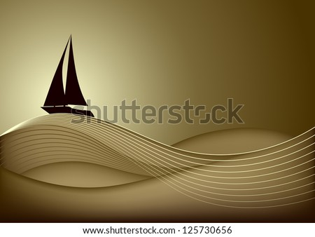 Sailing boat in the sea at sunset. Vector eps10
