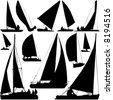sailing boat race vector - stock photo