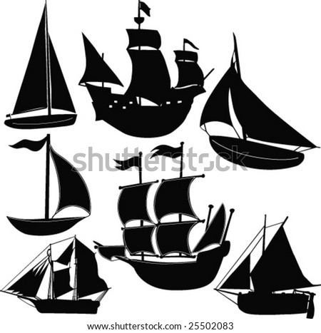 sailing boat - vector - stock vector