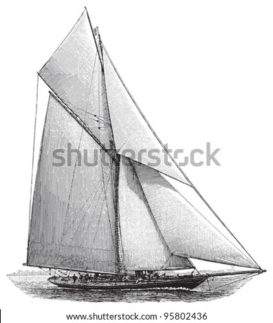 Sailing boat / vintage illustration from Meyers Konversations-Lexikon 1897 - stock vector