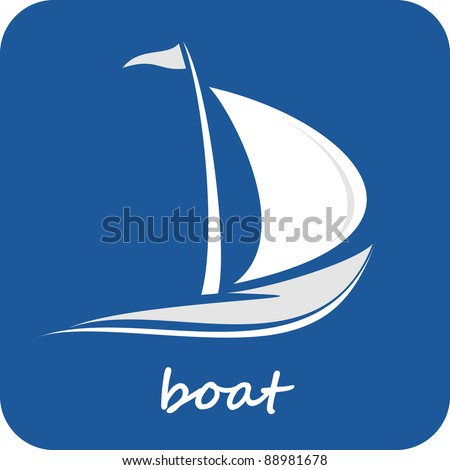 Sailing boat. White sailboat on the blue water. Yacht that sails on the waves. Stylized vector image of the floating boats with blue sails. Can be used as emblem of yacht club, marine club, hotel... - stock vector