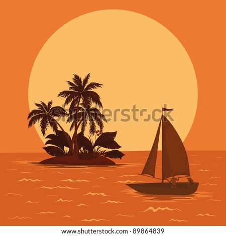 Sailing boat with a people floating in the tropical sea against the backdrop of the island with palm and sun. Vector - stock vector