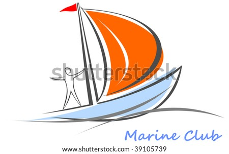 Sailing boat with sailor. White sailboat on the blue water. Yacht that sails on the waves. Stylized image of the floating boats with blue sails and red flag.