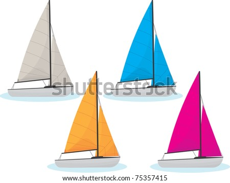 Sailing boats in four different colors
