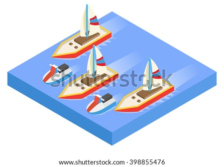 Sailing Boats racing on water. vector illustration - stock vector