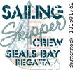 Sailing crew - marine artwork for boy t shirt in custom colors - stock photo