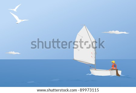 sailing on a summer breeze - stock vector