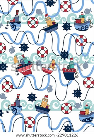 sailing pattern vector - stock vector