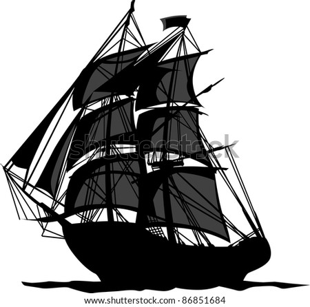 sailing pirate ship sails graphic vector stock vector royalty free rh shutterstock com pirate ship vector art pirate ship vector art