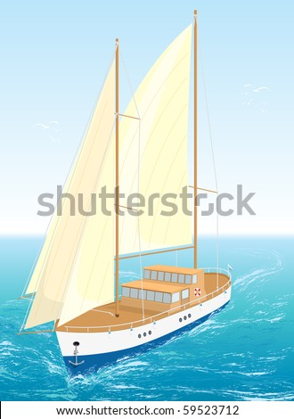 Sailing sea ship on waves. Vector Illustration. EPS8. - stock vector