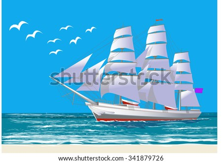 Sailing ship, all the objects on separate layers, isolated on white, vector illustration - stock vector