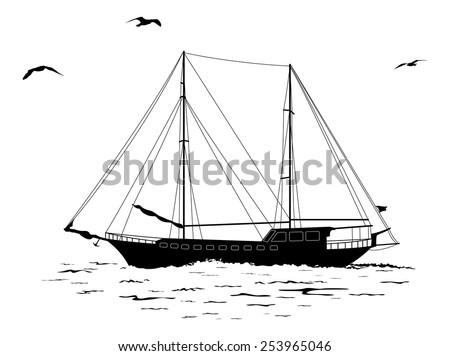 Sailing ship floating in the sea, the birds fly in the sky, black silhouettes and contours isolated on white background. Vector - stock vector