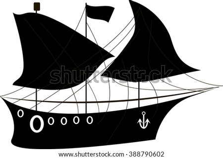 sailing ship icon. On board there is a lifeline. Yaor and mast. vector illustrations. - stock vector