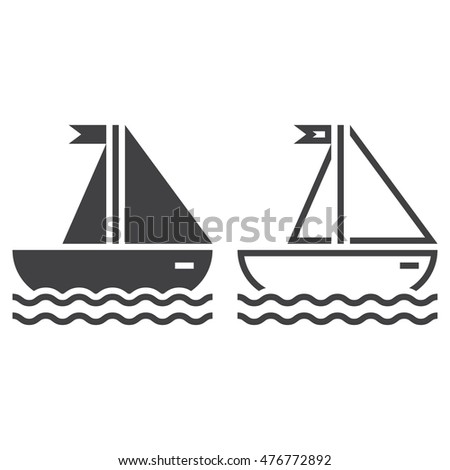 sailing ship line icon, outline and solid vector sign, linear and full pictogram isolated on white, sailboat logo illustration