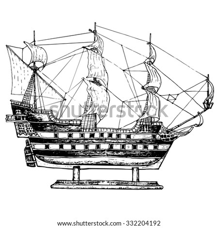 Sailing ship model. Hand drawn illustranion - stock vector
