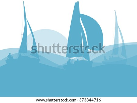 Sailing ship yacht in sunrise vector background abstract illustration - stock vector