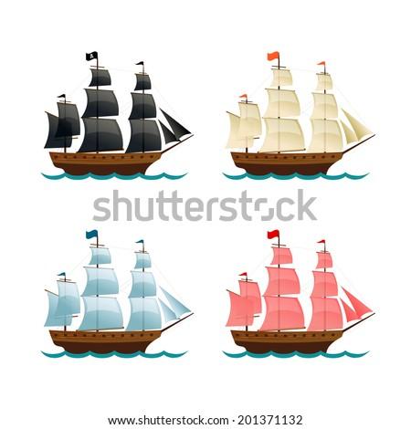 Sailing Ships Set. Vector illustration - stock vector
