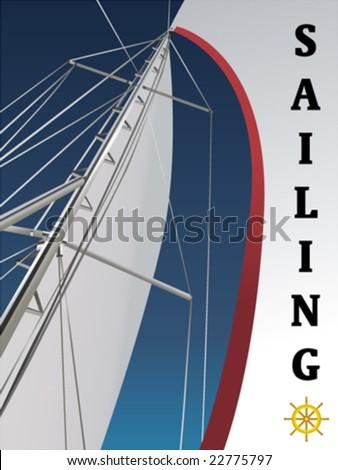 sailing vector - stock vector