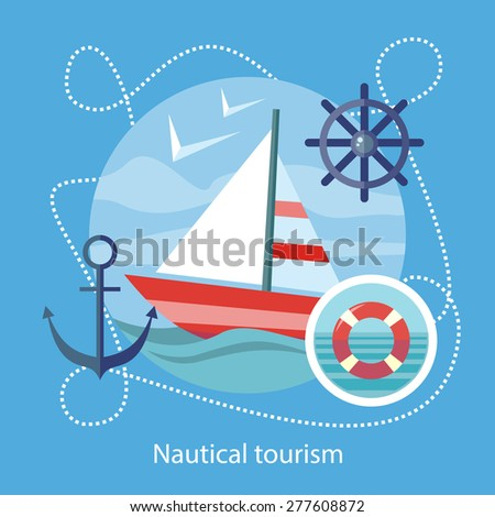 Sailing vessel in clear blue water. Nautical tourism. Icons of traveling, planning summer vacation, tourism. For web banners, marketing and promotional materials, presentation templates  - stock vector