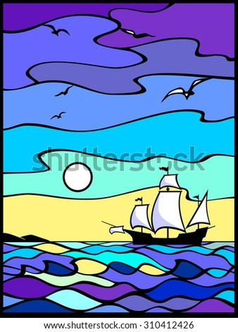 Sailing vessel in the sea  view. Sunset. Yellow, blue and violet background.  Stained glass window. It Can be used for flayers, banners, posters. Vector illustration.  - stock vector