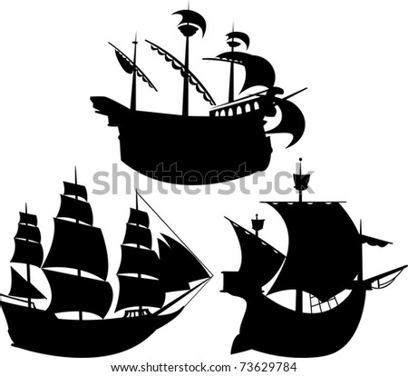 Sailing vessel silhouettes set - stock vector
