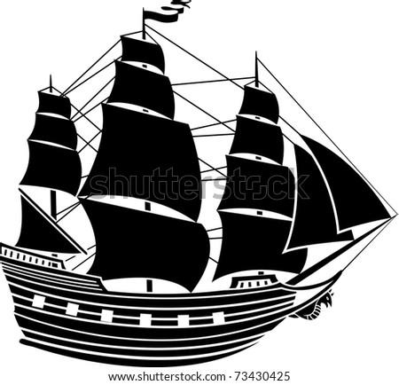 Sailing vessel stencil second variant - stock vector