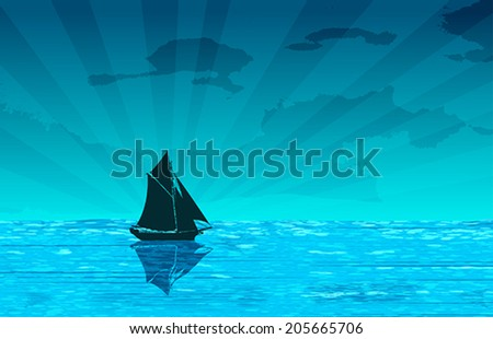 Sailing yacht on the ocean, vector background