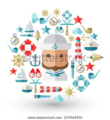 Sailor and nautical icons : Flat Illustration - stock vector