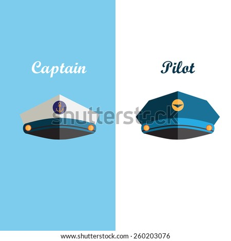 Sailor and pilot cap flat icons - stock vector