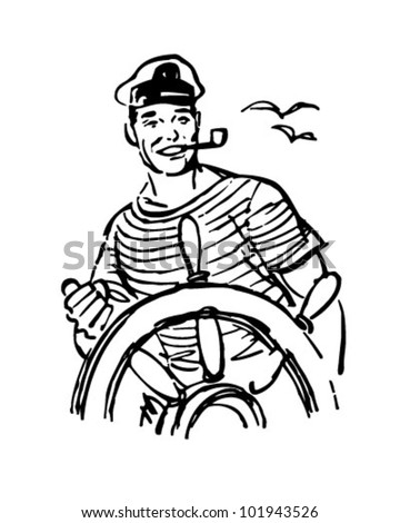 Sailor At The Helm - Retro Clipart Illustration - stock vector