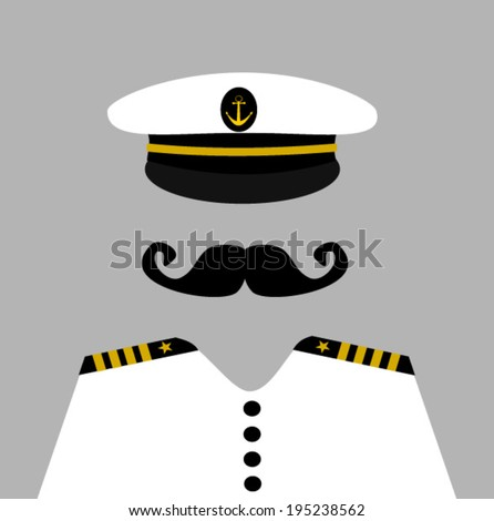 sailor captain wearing uniform - stock vector