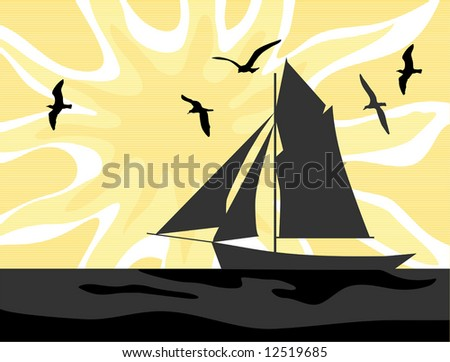 Sailors Sunrise vector is hand drawn original artwork. - stock vector