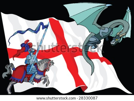 Saint George and Dragon against English Flag - stock vector