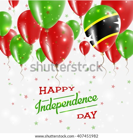 Saint Kitts And Nevis Independence Day Celebration Balloons. Flying Rubber Celebration Balloons in Colors of the Saint Kitts And Nevis National Flag.