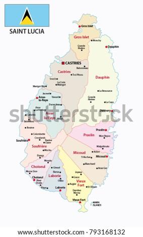 Saint Lucia Administrative Political Vector Map Stock Vector