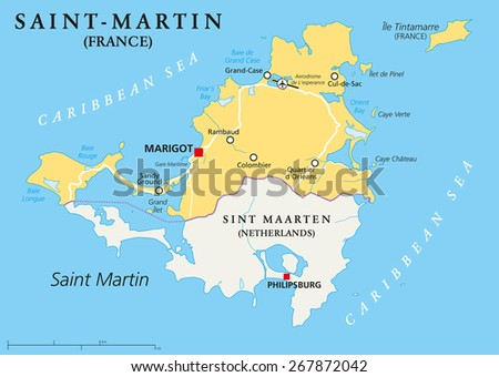 Saint-Martin Country Political Map. The northern part of the caribbean island Saint Martin. An overseas collectivity of France with the capital Marigot, and important places. English labeling.