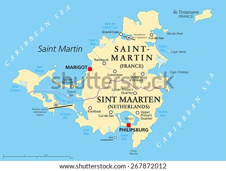Saint Martin Island Political Map. A Caribbean Island divided between the countries Saint-Martin (France) and Sint Maarten (The Netherlands). Map with capitals and important places. English labeling.